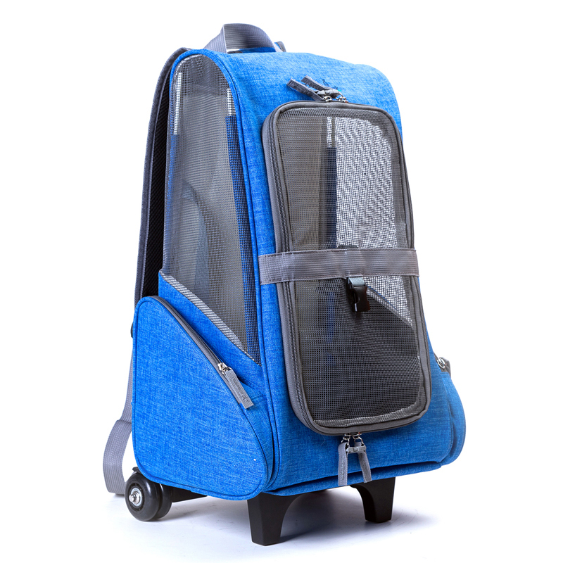 Portable Luggage Duffel Bag Cat With Twine Blue Travel Bags Carry-on In Trolley Handle