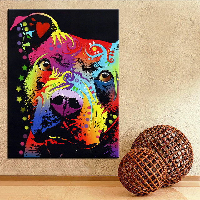 Pitbull Wall Art aliexpress : buy large size print oil painting wall painting