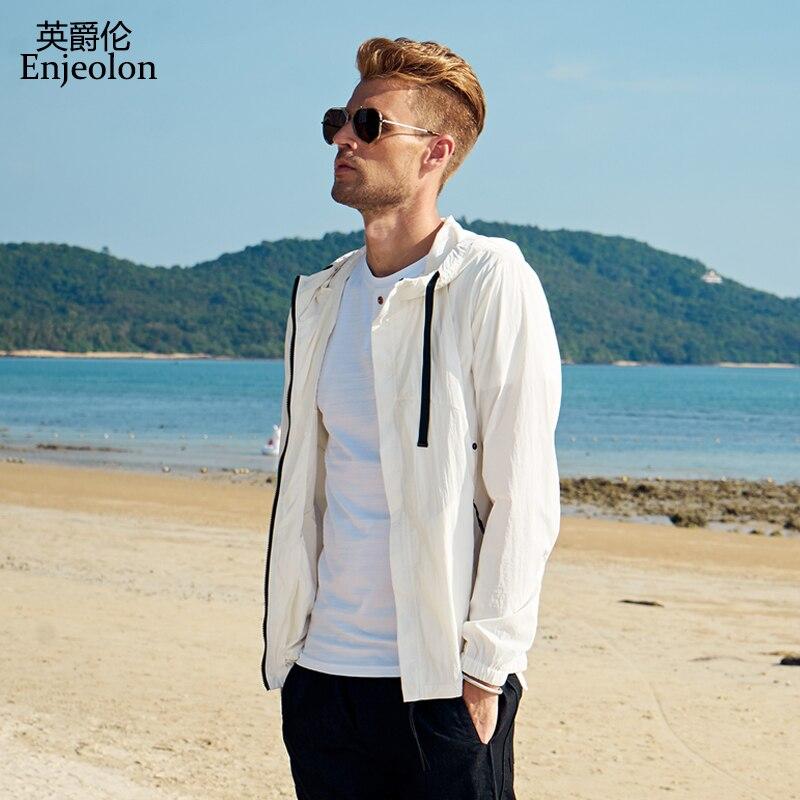 Enjeolon 2018 Защита от солнца толстовки пальто мужчины кожи одежда тонкий слой кожи для мужчин Солнцезащитная одежда мужские летние дышащие