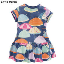 Little maven 2018 new summer baby girls brand dress kids Cotton umbrella print children short sleeve dresses S0333(China)