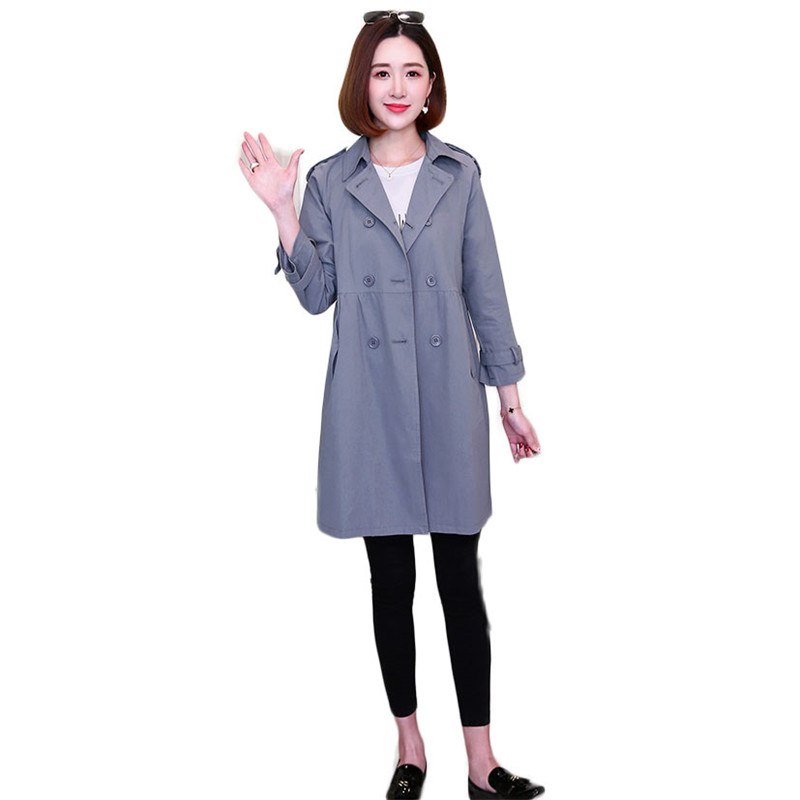 2019 Spring Autumn Women Classic Solid Long   Trench   Coat Female Doube Breasted Tops England Style Turn-Down Collar Outerwear M194