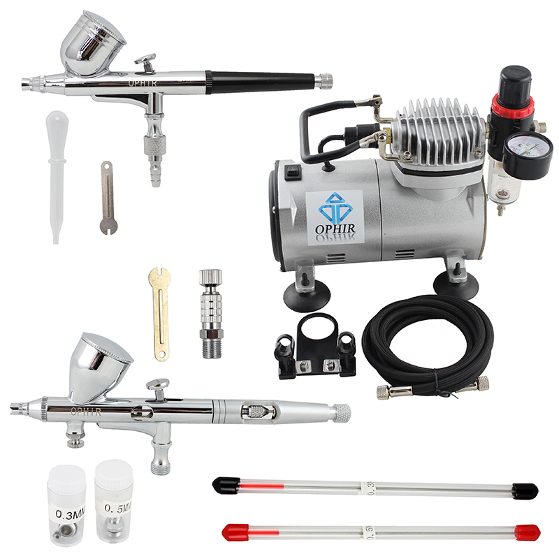 OPHIR 2 PCS Dual Action Airbrush Kit (4 størrelsesdyser) Gravity - Makeup - Foto 2