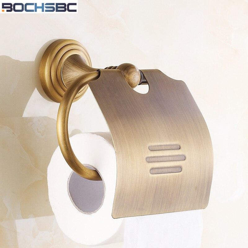 BOCHSBC European Full Copper Toilet Paper Holder Classic Retro Roll Paper Towel Box Antique Brass Bathroom
