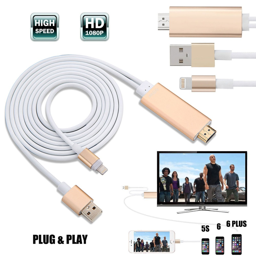 imágenes para 2 M de Alta Velocidad de Rayo de 8 Pines a HDMI HDTV AV TV Cable CONECTOR USB & PLAY Adaptador Para Apple iPhone 7 7 Plus 6 s 5S Para iPad Aire Air2