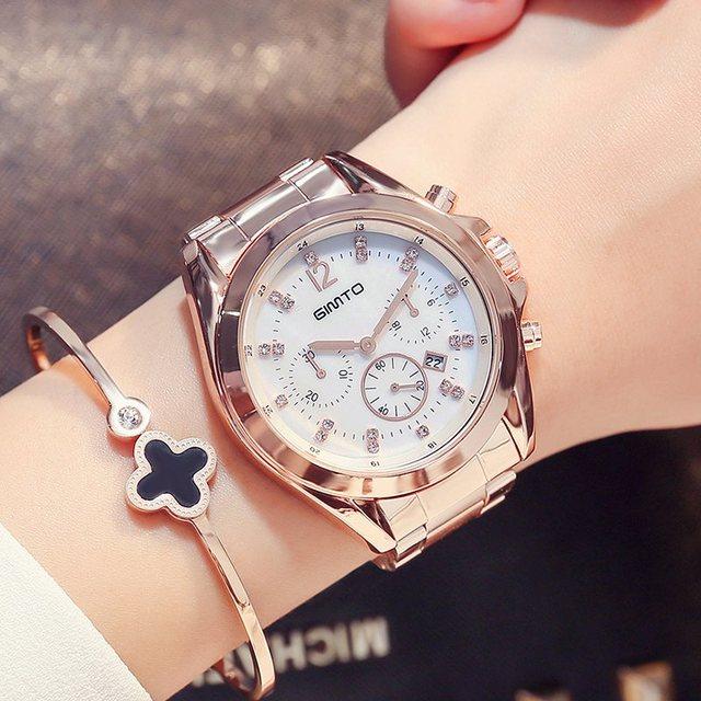 954bbac17cc Marca de luxo Mulheres Strass Relógios GIMTO Subiu de Ouro Da Moda Elegante  Vestido Ocasional Relógios