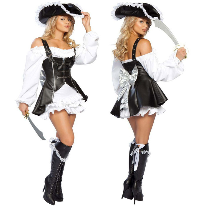 Punk Pirate Costume Women Adult Party Halloween Costumes For Women Black Faux Leather -1883