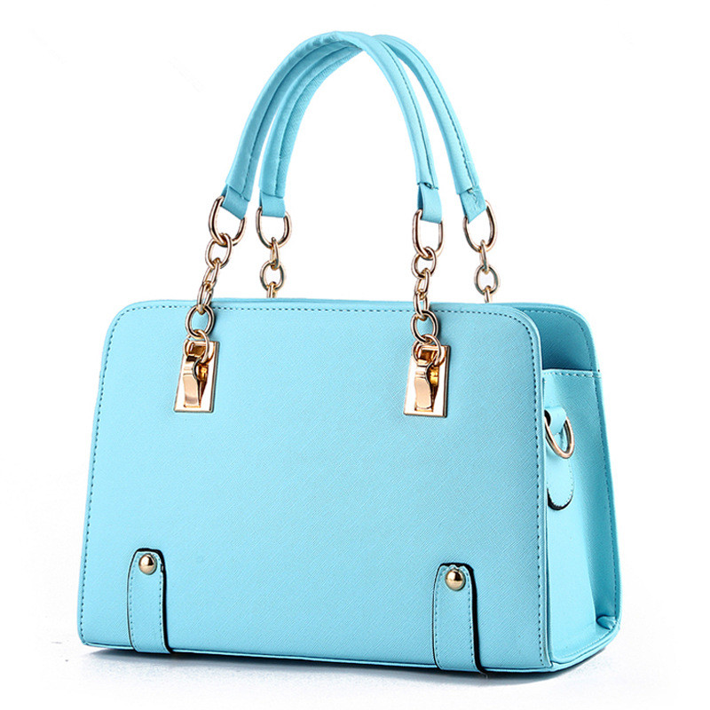d872918e587b3 Fashion PU Women Handbag Solid Light Blue Metal Chain Shoulder Bag Tote  Clutch Crossbody Messenger Zipper