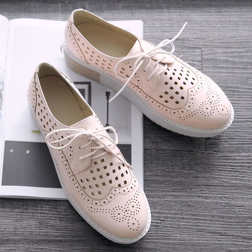 Big Size 48 Platform Brogue Shoes Woman PU Leather Creepers Cut-Outs Shoes Woman Lace Up 2016 Spring Footwear Round Toe Creepers