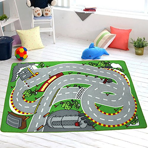 39.4 x 59 Kids Rug for Home Living Room Racing Track Printed Children Rug Learning Carpets Boys Playing Crawling Mat Pad