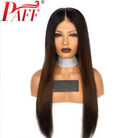 PAFF Straight Full Lace Human Hair Wigs Ombre Color 130% Density Pre Plucked Middle Part Natural Hairline With Baby Hair
