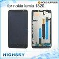 Exibição para nokia lumia 1320 testado lcd com digitador touch screen + moldura preta de alta qualidade 1 peça frete grátis