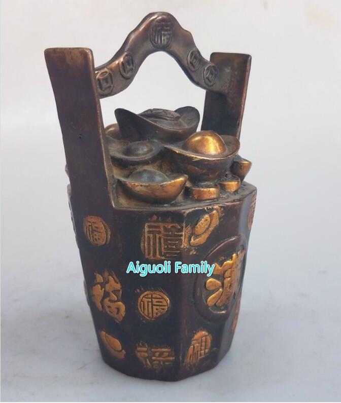 Un seau de lingots d'or métal artisanat plaqué or rouge cuivre statue Feng Shui maison laiton sculpture objets de collection décoratifs - 3