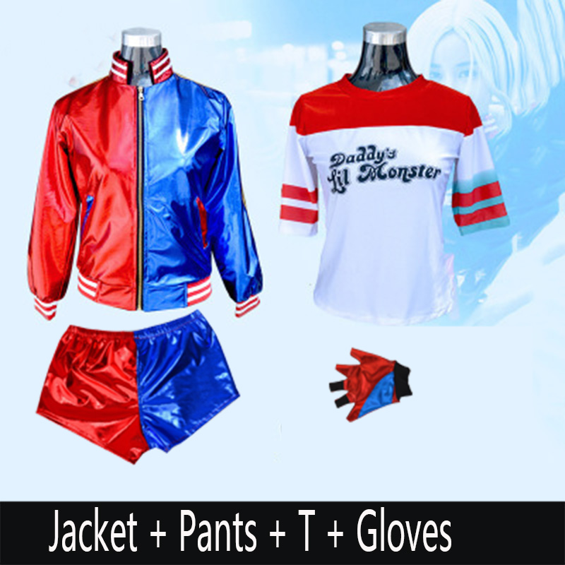 Movie Suicide Squad Harley Quinn Cosplay Costume for Kids adult Halloween Carnival Dress Harley Quinn Jacket Underwear T shir
