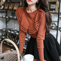 Dabuwawa Four Colors O Neck Long Sleeve Slim Sweater Knitwear Female Autumn Casual Pullover with Ruffles #D17DJS011