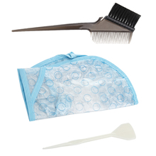 3pcs/set Coloring Dye Cap+Hook+Comb Brush Reusable Set Pro Hair Salon Color Frosting Tipping Color Hairstyling Hairdressing Tool