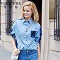 Veri Gude Женщины Джинсовые Рубашки Плед Лоскутное Материал Хлопка Свободные Блузки HJC-Q8424