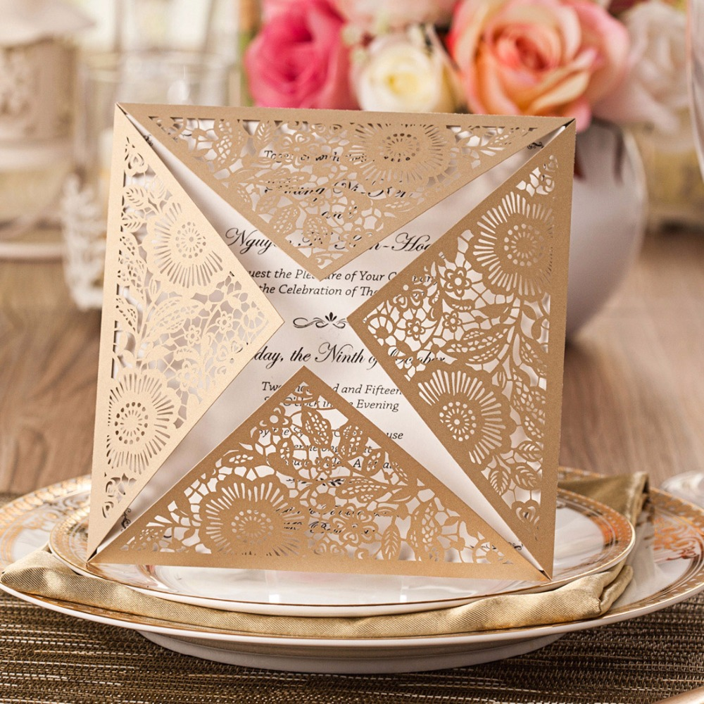 Laser Cut Wedding Invitations Cards Kit Square Lace Flower For Enement Party Birthday Anniversary Casamento Cw519 Wh In From Home