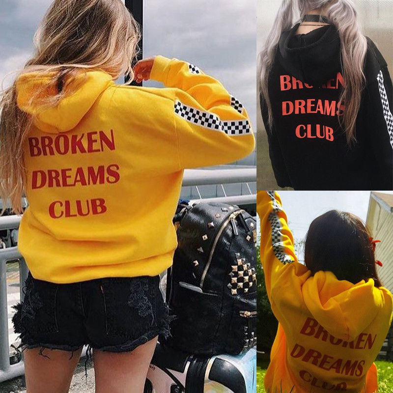 2018 Fashion Casual Spring Fall Newly Women Long Sleeve Hooded Pullover Back Letter Print Solid Pocket Hoodies 2 Style