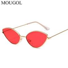 MOUGOL Metal Narrow Glasses Silver Mirror Triangle Sun For Women Vintage Tiny Small Cat Eye Sunglasses feminine Hippie