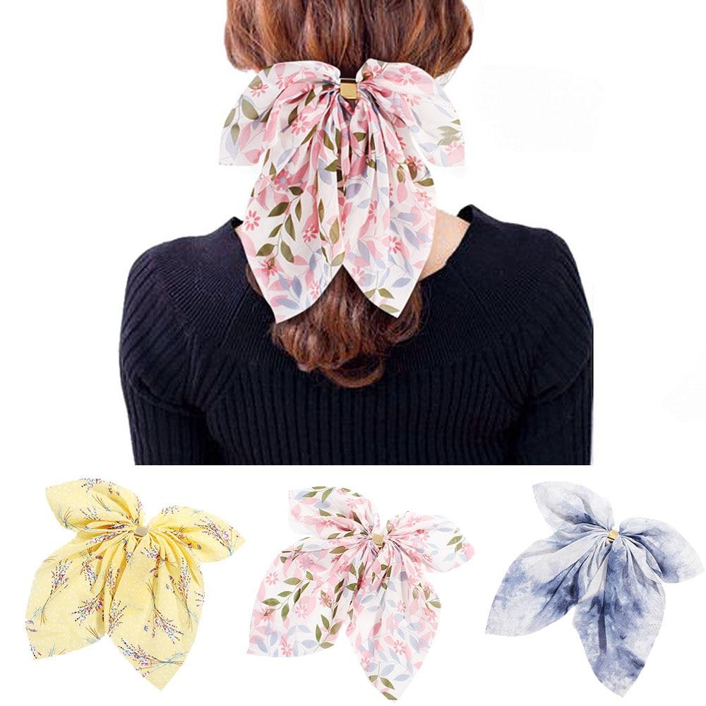 2019 Big Hair Bow Ties Scrunchies Hair Clips Chiffon Ribbon Hairpins For Women Girls Ponytail Holder Headband Hair Accessories