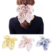 2019 Big Hair Bow Ties Scrunchies Hair Clips Chiffon Ribbon Hairpins For Women Girls Ponytail Holder Headband Hair Accessories(China)