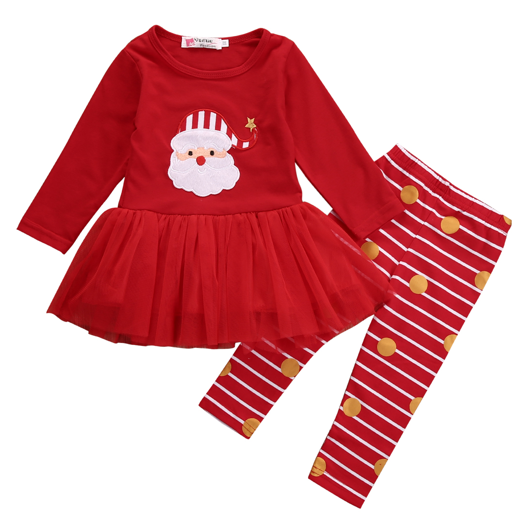 Kids Infant Baby Girls Christmas Santa Claus 2 Piece Set Long Sleeves Dress Tops + Long Pants Leggings Outfits Clothes newborn boys girls christmas santa claus infant new year clothes 4pcs santa christmas tops pants hat socks outfit set costume