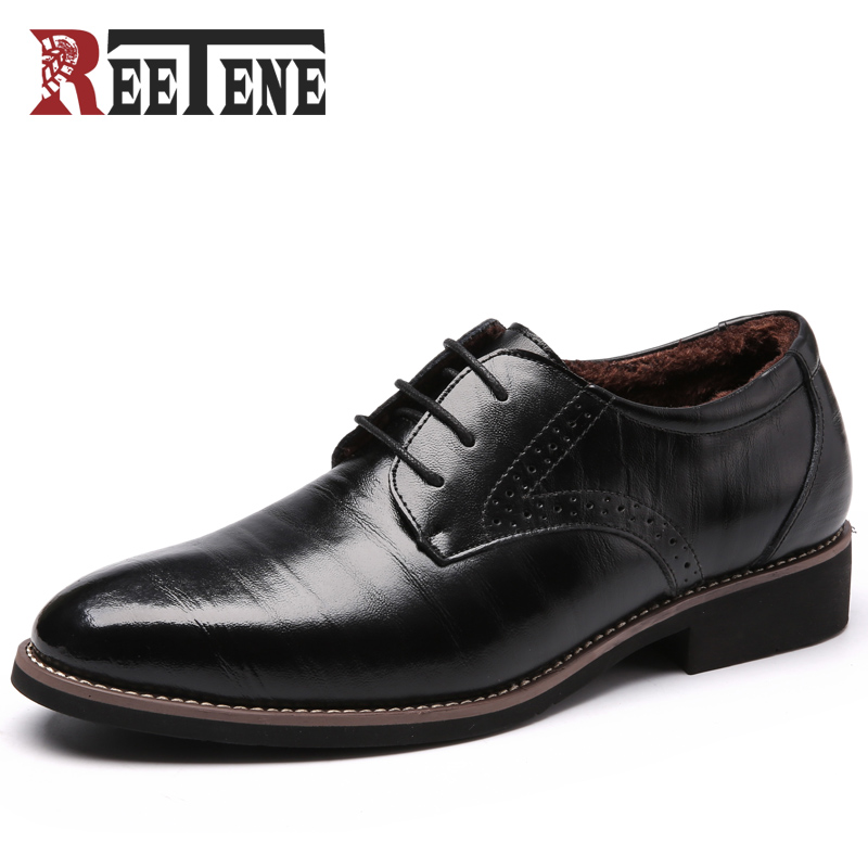 REETENE Oxford Shoes For Men Genuine Leather Men Shoes For Wedding Shoes Dress Men Leather Shoes Men Oxfords Winter Plush Flats zobairou sapato social oxford shoes for men genuine leather gold dress shoes men flats spiked loafers wedding shoes