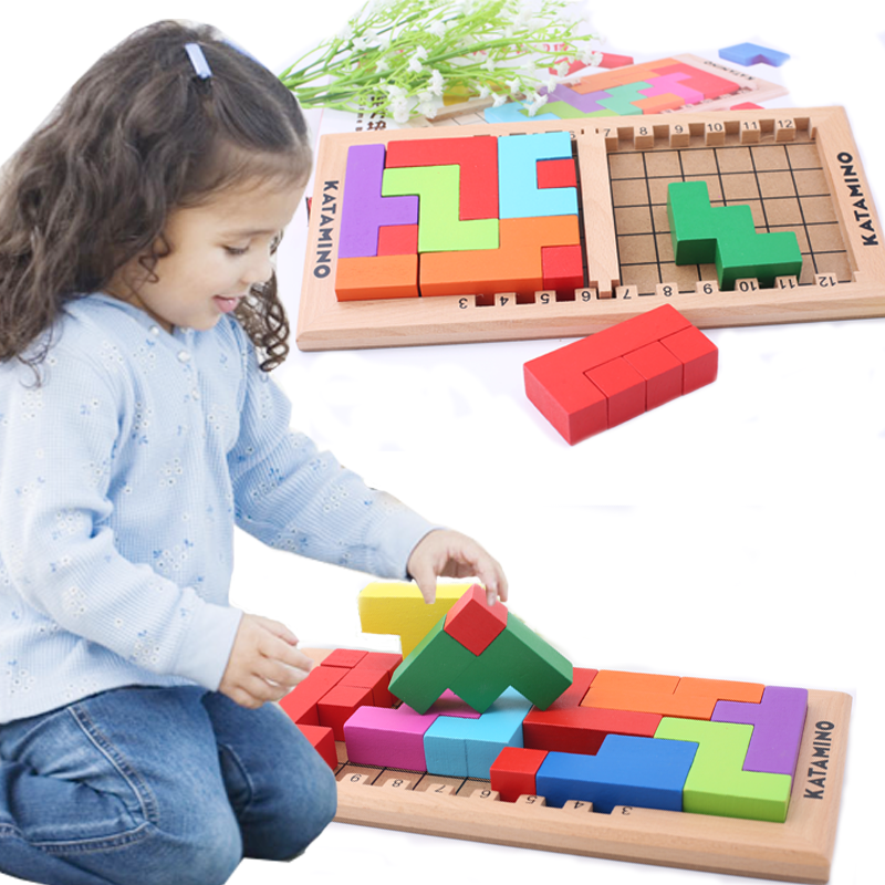 Kids Tetris Game Blocks/Katamino Wooden toy, Children Table Game Katamino Thinking of the game cube Blocksood assembling toy