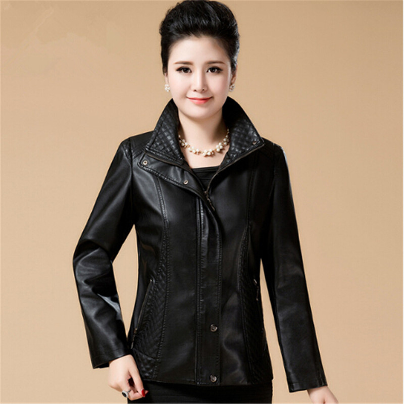 Large size 6XL 2018 old women's clothes in spring autumn dress new style Mama dressed in   leather   jacket and PU   leather   jacket