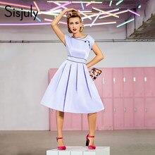 Sisjuly abiti vintage 1950 s partito abbigliamento donna retro o-neck  knee-lunghezza estate lady senza maniche una linea di abit. a6e29cae3d1