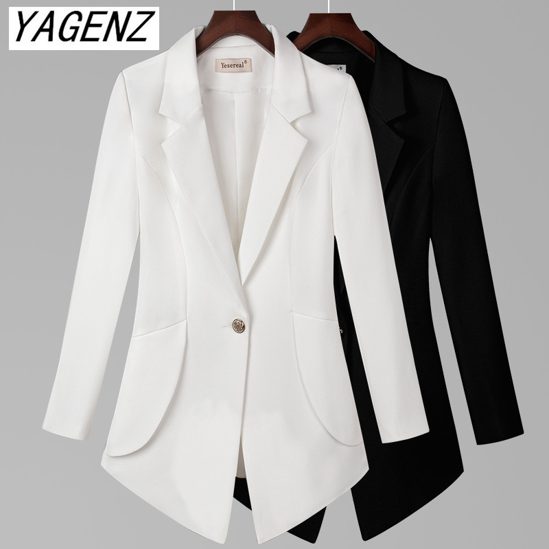 Big Size Women Suit Jacket Black White Slim Long Sleeve Office Women Blazers One Button Pocket Solid Casual Female  Coat 7XL