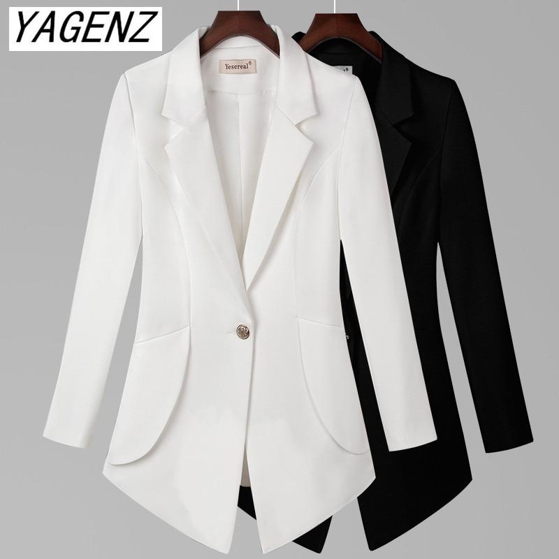Big Size Women Suit Jacket Black White Slim Long Sleeve Office Women Blazers One Button Pocket Solid Casual Female  Coat 7XL