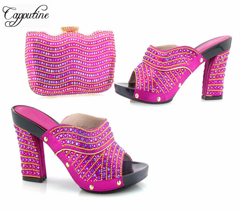 Capputine 2017 New Arrival Rhinestone Pumps Shoes And Purse Set European Style Woman Shoes And Bag Set For Party Free Shipping capputine new arrival fashion shoes and bag set high quality italian style woman high heels shoes and bags set for wedding party