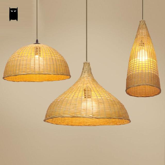 Original Rotin Suspension Abat Jour Osier Bambou Luminaire Design E9IDH2