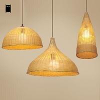 Original Design Bamboo Wicker Rattan Shade Pendant Light Fixture Nordic Korean Japanese Loft Lamp Luminaria Dining Study Room