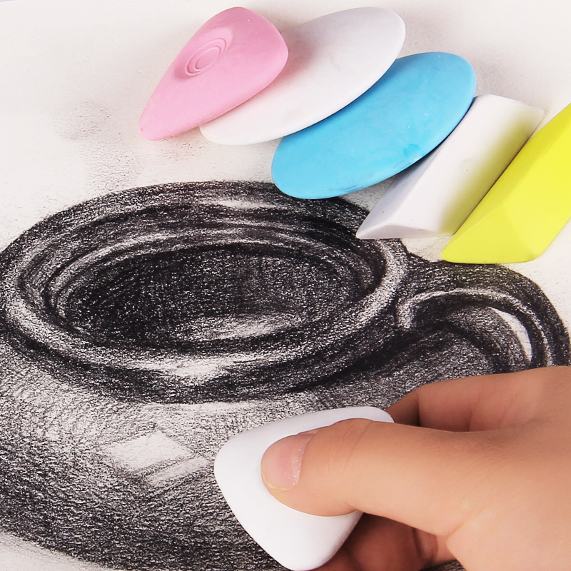 Random 3pcs Fine Art Sketch Painting Special HighLight Eraser Sketch Pencil Triangle Rubber Student Drawing Eraser