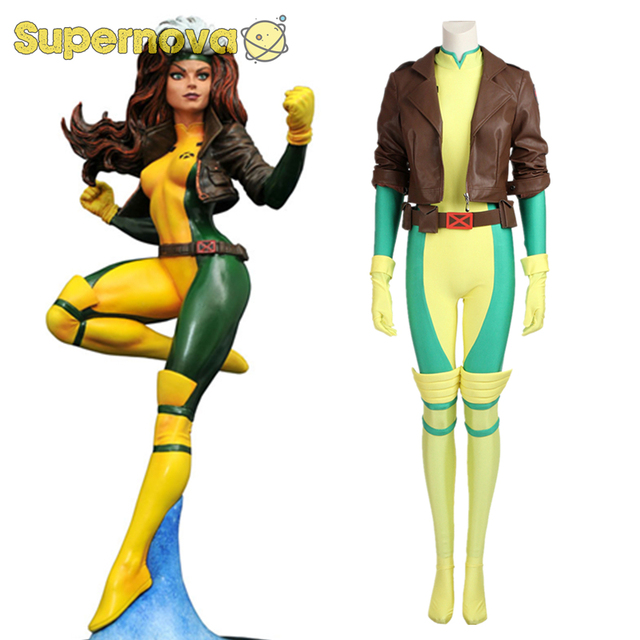 X Men Rogue Costume Cospaly Marvel Comics Superhero Anna Marie Cosplay Costume Adult -9803