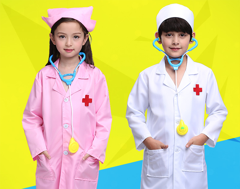 2017 Hot Children Halloween Cosplay Costume Kids Doctor Dress Nurse Uniform With Hat Chef Costume Professional Performance Play pretend and play doctor set little doctor kids baby toddler children junior doctor nurses medical set kit role play toy