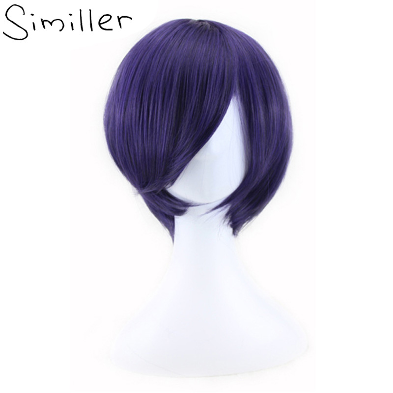 "Similler 12"" Straight Cosplay Wig Purple Short Synthetic Hair For Men Costume"