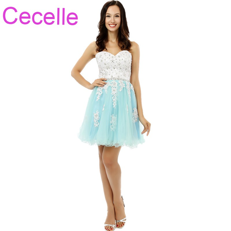 Mint Lace Tulle Short   Cocktail     Dresses   2019 Sweetheart Beaded Corset Back Girls Informal Short Prom   Dress   Custom Made Real photo
