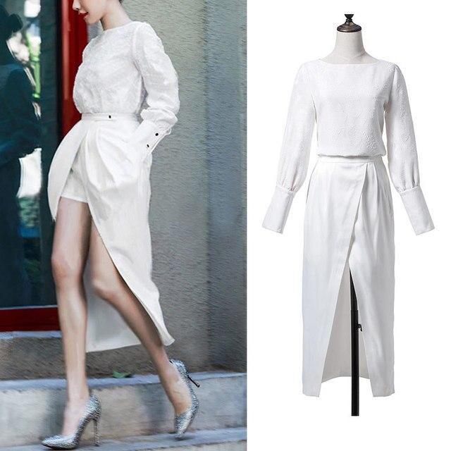 2017 runway womens fashion spring new long sleeved blouse jacquard false two slits two piece suit fashion short dress YN06