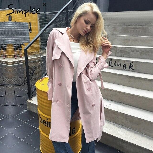 Simplee Elegant turndown trench coat female Double-breasted belt windbreaker women Casual autumn women coat cool outerwear