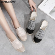 TINGHON Fashion Women Ladies Espadrille Shoes Canvas Breathable houndstooth Hemps Fisherman Flats