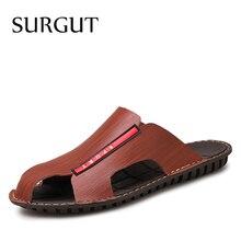 SURGUT Brand Summer Classic Men Soft Sandals Comfortable Men Summer Shoes Leather Sandals Men Roman Comfortable Men Size 38~44