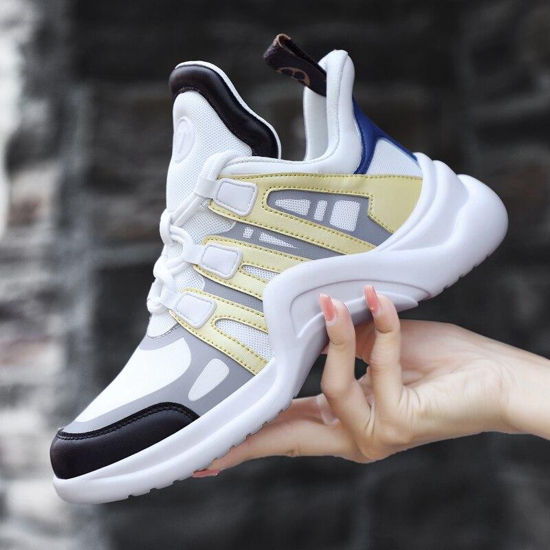 2019 Printemps Nouveau Chunky Sneakers Femmes Véritable En Cuir Lycra Tissu Sneakers Célèbre Marque de Haute Qualité Plate-Forme Harajuku Chaussures