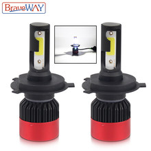 BraveWay Led Light for Auto H4 9005 9006 HB3 HB4 Small Size Led Bulbs for Cars H4 Headlight Auto Led Lamp H4 LED Headlamp(China)
