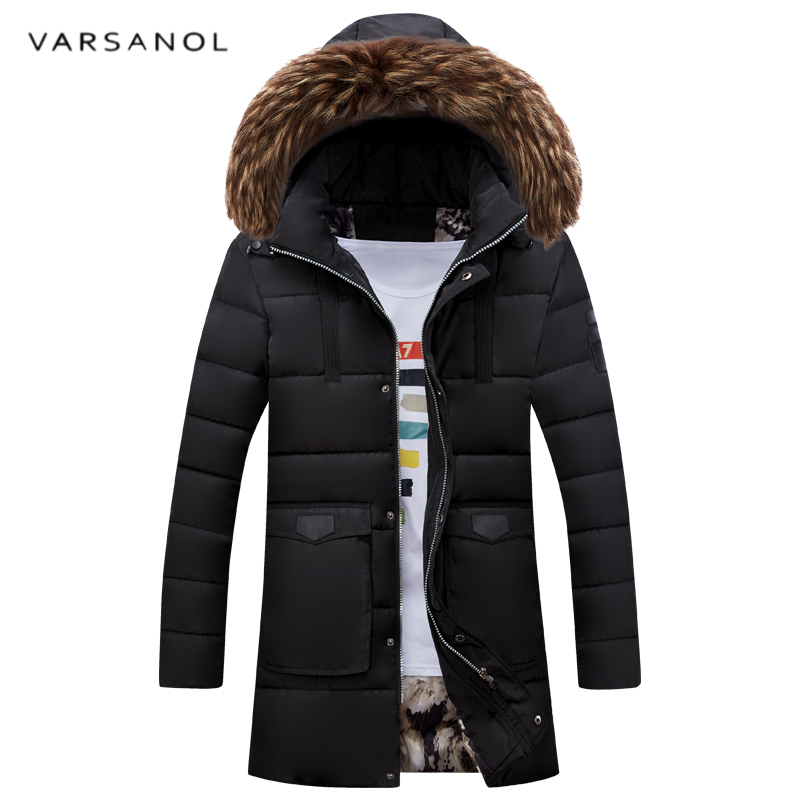 Varsanol Long Jacket Mens Coat Warm Winter Jackets High Quality Overcoat Parkas Hooded Large Size Cotton Thick Loose Outwear2017 new mens warm long coats lady cotton warm jacket padded coat hooded parkas coat winter top quality overcoat green black size 3xl