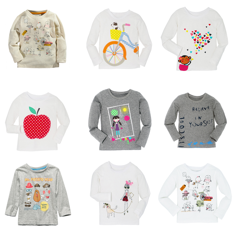 New Autumn Winter Cartoon Long Sleeve T shirt Baby Boys Girls T-Shirt Brand Kids Children Casual Clothing Tee Cotton Clothes