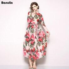 Banulin 2018 Fashion Designer Runway Dress Spring Womens Long sleeve Beach Dresse Ribbon Rose Floral Print Casual Elegant
