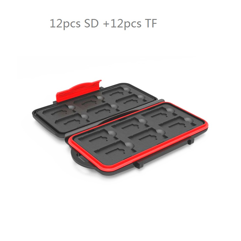 Memory Card Case Box Storage Holder 12 SD  12TF  Micro SD Card 24 Cards Hard Bag Waterproof Plastic Shaped 12TF+12SD